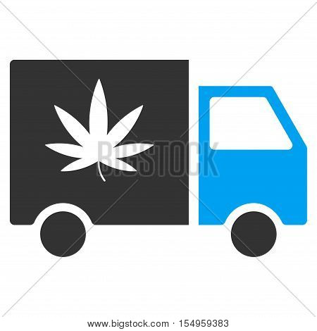 Cannabis Delivery Van vector pictogram. Illustration style is a flat iconic bicolor blue and gray symbol on white background.