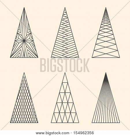 Set of linear graphic stylized Christmas trees on beige background