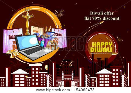 easy to edit vector illustration of Happy Diwali shopping sale offer with decorated diya for India festival
