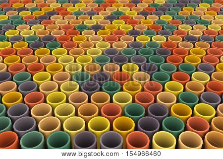 abstract colorful background tube mosaic 3d illustration