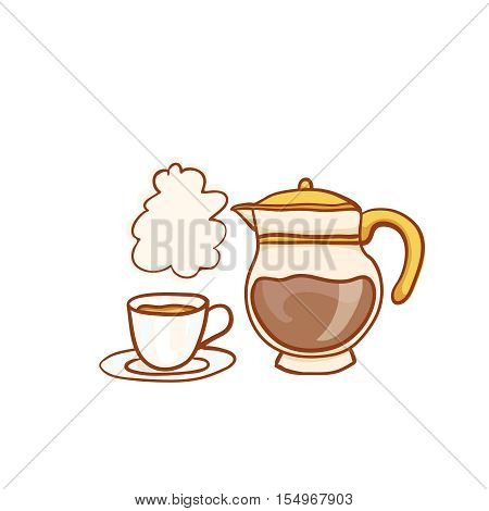 Hot coffee cup and glass pot sketchy clipart. Vector design element. Sketch for flyer, banner, ad, package, poster. Hand drawn icons, isolated on white