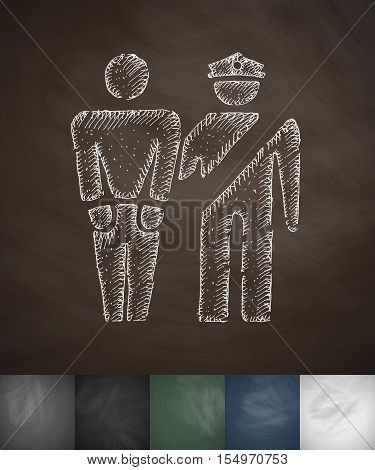 arrest icon. Hand drawn vector illustration. Chalkboard Design