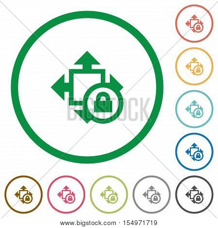 Size lock flat color icons in round outlines