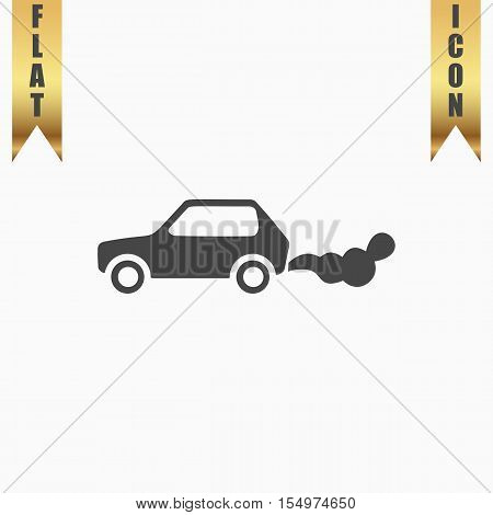 Car emits carbon dioxide. Flat Icon. Vector illustration grey symbol on white background with gold ribbon