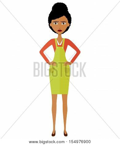Angry African young woman. Angry South African or African American woman teacher. Unhappy woman.Vector - isolated.