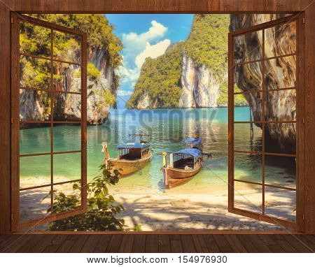 3D visualization of an open wooden window overlooking the Bay of the Andaman sea