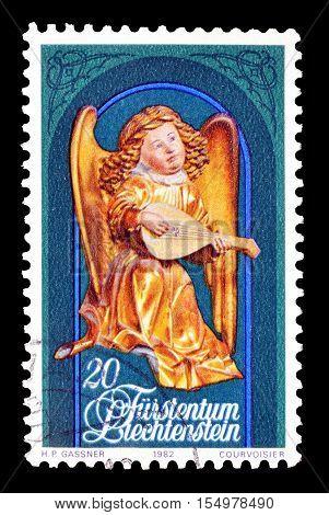 LIECHTENSTEIN - CIRCA 1982 : Cancelled postage stamp printed by Liechtenstein, that shows Angel.