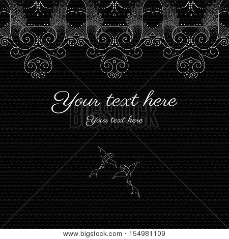Vector abstract background with sample text. Decor is delicate and filigree. Marine theme with fish. Perfect as invitation or congratulation. Can be used as a seamless background.