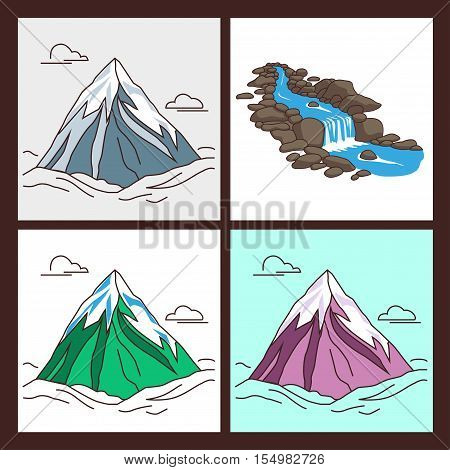 Collection of mountains with snowy peaks in outlined cartoon style. Illustration of river flowing down stream across a stones. Modern illustration.