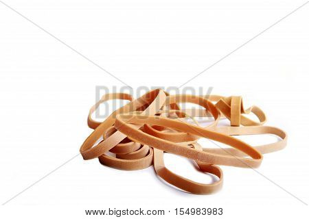 Elastic rubber bands isolated on the white background.