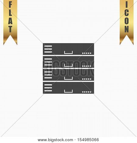 Computer Server. Flat Icon. Vector illustration grey symbol on white background with gold ribbon