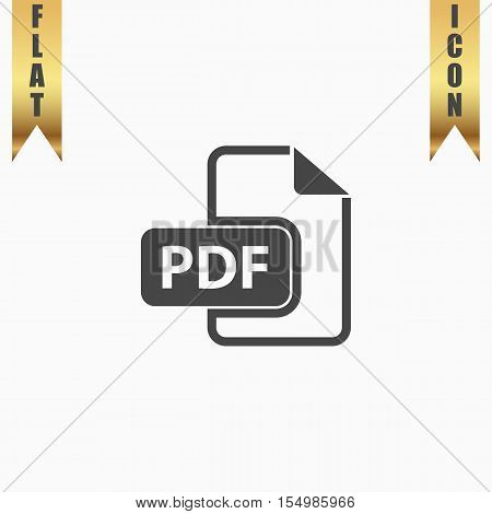 Pdf file format. Flat Icon. Vector illustration grey symbol on white background with gold ribbon