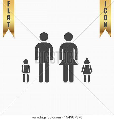 Simple family. Flat Icon. Vector illustration grey symbol on white background with gold ribbon