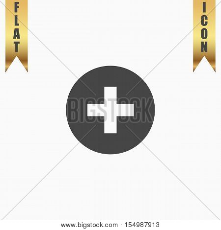 Medical cross. Flat Icon. Vector illustration grey symbol on white background with gold ribbon