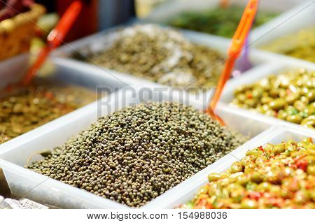 Capers On Farmer's Market In Italy