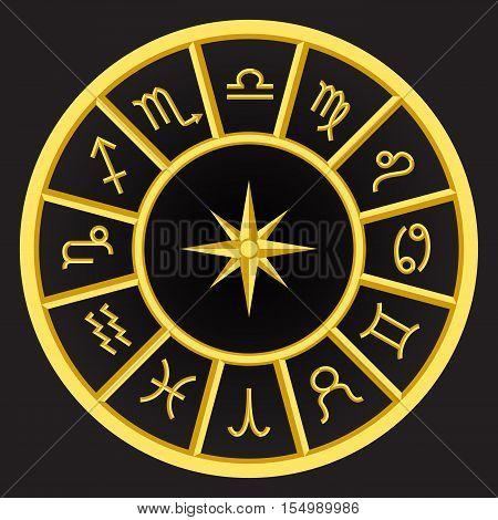 golden zodiac symbols on black background set of zodiac signs 12 zodiac