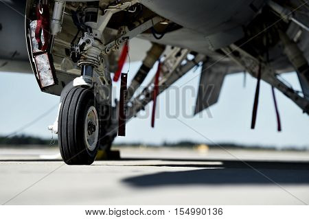 Fighter aircraft detail with landing gear and engine cover