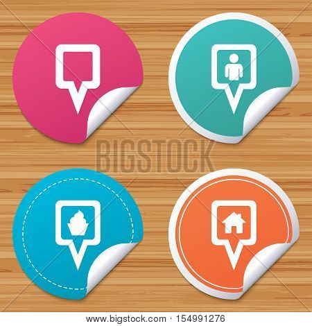 Round stickers or website banners. Map square pointer icons. Home, food and user location symbols. Restaurant and cupcake signs. You are here. Circle badges with bended corner. Vector
