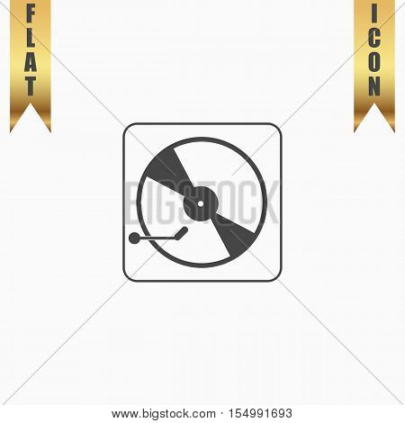 Vinyl record player. Flat Icon. Vector illustration grey symbol on white background with gold ribbon