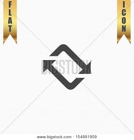Spinning, rotating arrows. Flat Icon. Vector illustration grey symbol on white background with gold ribbon