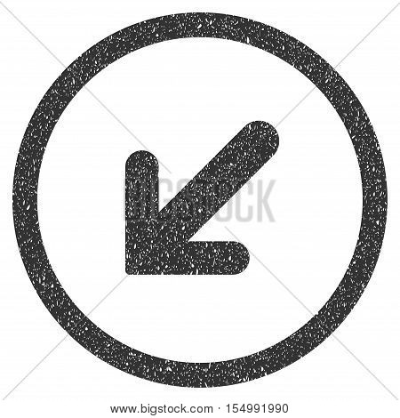 Arrow Left Down rubber seal stamp watermark. Icon symbol inside circle frame with grunge design and unclean texture. Scratched vector gray ink emblem on a white background.