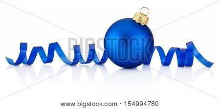 Blue Christmas bauble and curling paper Isolated on white background