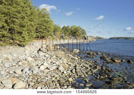 Pebble beach in Nynashamn. Nynashamn is located far south in Sodertorn, 58 kilometers south of Stockholm.