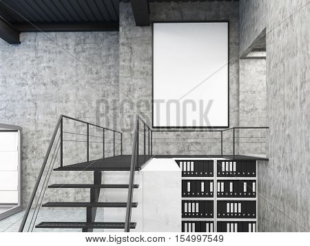 Vertical Poster In Office With Stairs And Bookcases