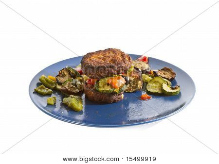 Mixed Grilled Vegetables with burger