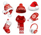Winter clothes. Santa stocking cap. Knitted hat. Christmas sock. Scarf. Mitten. Earmuffs. 3d vector  poster