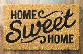 Home Sweet Home Welcome Mat On Wood Floor. poster