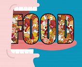 Постер, плакат: Open Mouth And Food Absorption Of Feed Eat Many Of Meal Very Hungry Pizza And Tacos French Frie