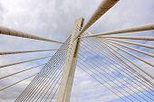 Bridge in modern architecture style, Podgorica, Montenegro poster