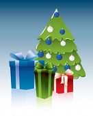 stock photo of x-max  - Christmas tree with present - JPG
