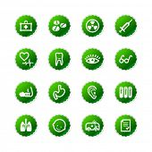 green sticker medicine icons
