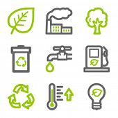 Eco web icons, green and gray contour series