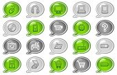Electronics web icons, green and grey speech bubble series