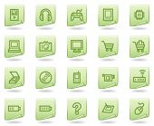 Electronics web icons, green document series