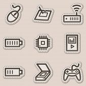 Electronics web icons set 2, brown contour sticker series