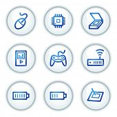 Electronics web icons set 2, white circle buttons series