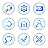 Basic web icons, white circle buttons series