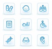 Medicine web icons set 2, white square buttons