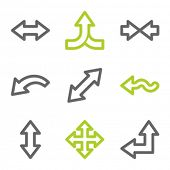 Arrows web icons set 2, green and gray contour series