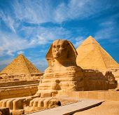 Sphinx Full Body Blue Sky All Pyramids Egypt poster