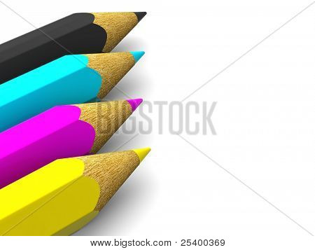 Pencils. CMYK. 3d