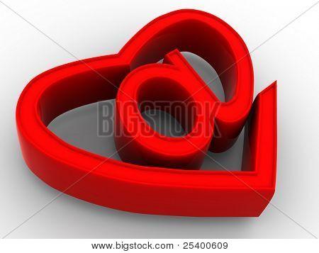 Symbol of internet as heart. 3d