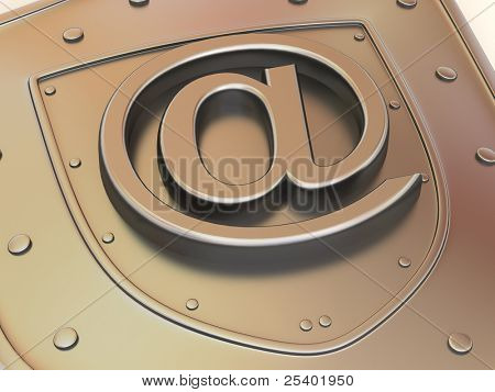Shield with symbol for internet. 3d