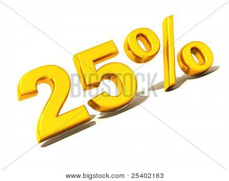 Twenty-five percent. Gold. 3d