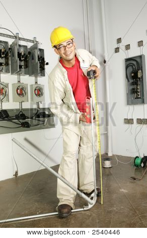 Electrician Bending Pipe
