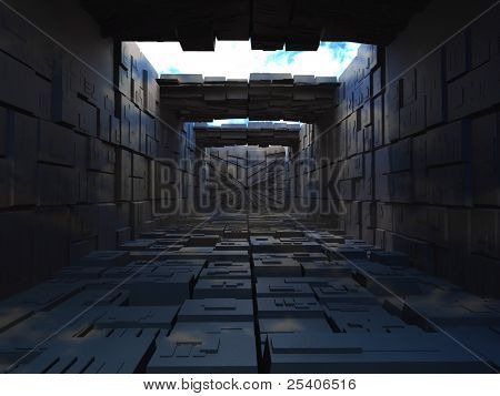 Abstrac building from boxes. 3d